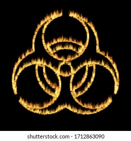 Warning symbol of a biohazard sign from flames - abstract illustration