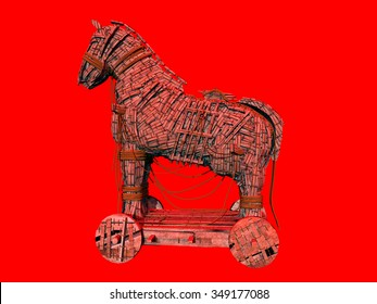 Warning symbol for the computer virus Trojan horse against a red background Computer generated 3D illustration