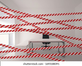 warning tape in white office interior. 3D rendering.