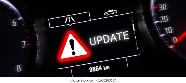 Warning of vehicle update  in car display