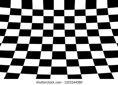 Warped perspective coloured checker board effect grid illustration black and white