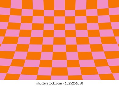 Warped perspective coloured checker board effect grid illustration orange and pink