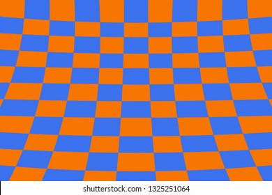 Warped perspective coloured checker board effect grid illustration orange and blue
