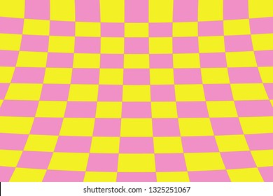 Warped perspective coloured checker board effect grid illustration yellow and pink