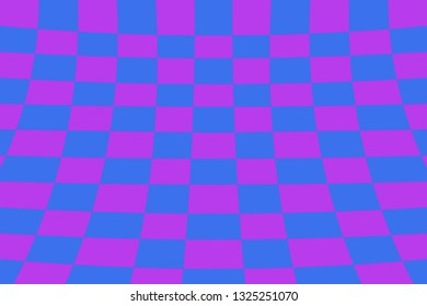 Warped perspective coloured checker board effect grid illustration purple and blue