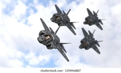 Warplanes team background, 3d render
