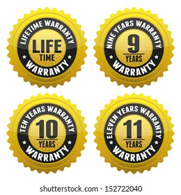 Warranty Badge and Sign with lifetime, nine, ten, eleven years warranty - banner, sticker, tag, icon, stamp, label