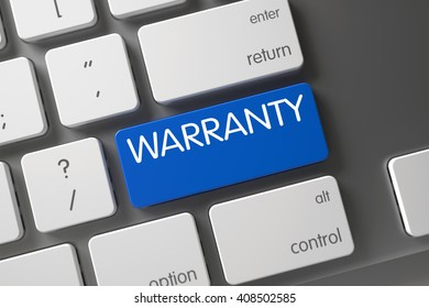Warranty Concept: Modern Laptop Keyboard with Warranty, Selected Focus on Blue Enter Keypad. Warranty Keypad on Laptop Keyboard. Warranty Keypad. Keyboard with Blue Keypad - Warranty. 3D Render.