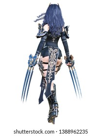 Warrior amazon woman sword and metal blade.Long dark hair.Elven warrior.Comic hero.Muscular athletic body.Girl standing aggressive pose.Conceptual fashion art.3D rendering isolate illustration