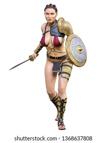 Warrior amazon woman  sword and shield. Long dark hair. Muscular athletic body. Girl standing candid provocative aggressive pose. Conceptual fashion art. Realistic 3D rendering isolate illustration