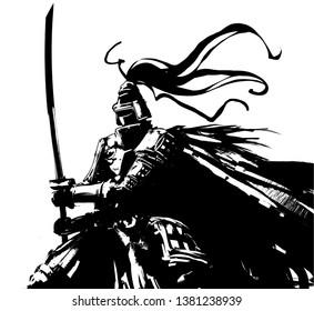 A warrior in armor with a sword stands in the wind