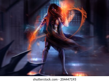 Warrior armored woman. Fantasy warrior woman attack with fire chains action illustration.