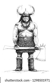 Warrior of chaos. Fantasy illustration. Hordes of Chaos.