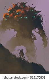 the warrior facing giant multi-head monster,illustration painting
