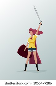 Warrior Girl with a sword and a shield