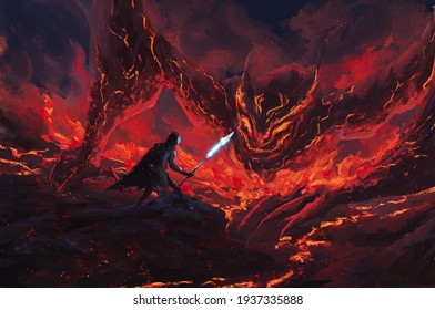 Warrior holding a frost spear standing confront lava dragon in the flames,tale monster,creatures of myth and Legend ,digital art, Illustration painting.
