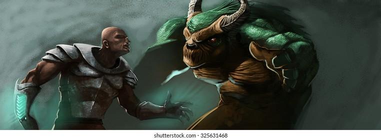 a warrior human meeting a big green monster