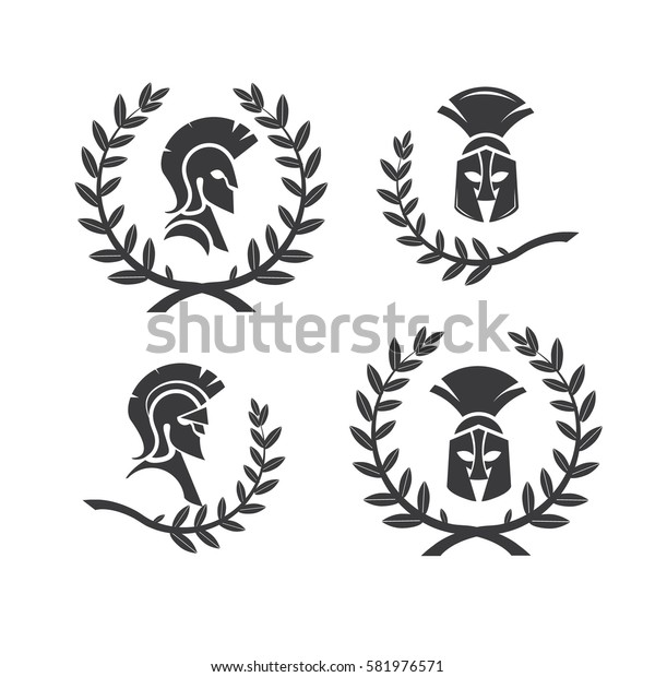 Warrior icons in spartan style. Stylized helmet and soldier silhouettes. Symbol of strength. Collection of Spartan soldier symbols with laurel wreaths.