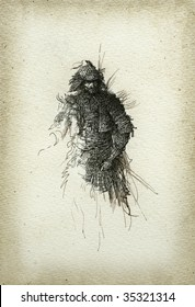 The warrior in the Japanese style. Made by ink on paper.