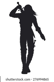Warrior man silhouette. Stylized silhouette of a walking warrior. The man is pulling out the sword on his back
