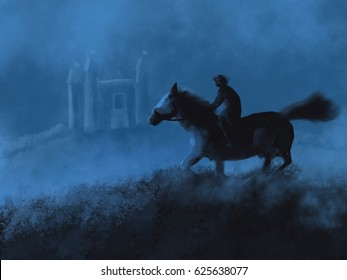 Warrior On Horse Returning To His Kingdom From an Adventure Illustration