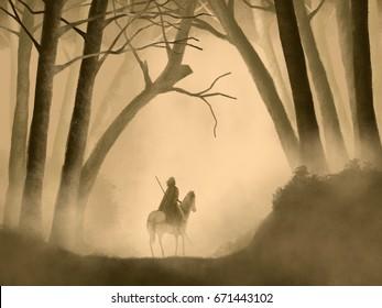 Warrior On Horseback in a Foggy Forest Fantasy Artwork Painting Illustration.