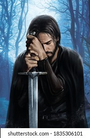 Warrior prays leaning on his sword