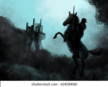 Warrior Prince On Rearing Horse Left His Kingdom to Embark On An Adventure Illustration