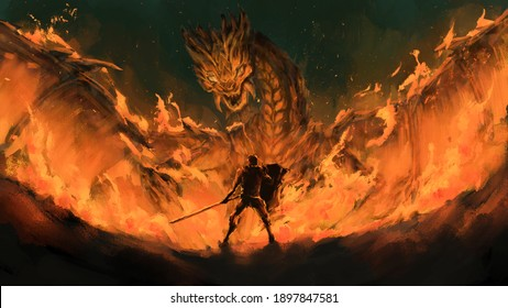 Warrior standing confront dragon in the flames,Monster tale ,Creatures of myth and legend ,digital art, Illustration painting.