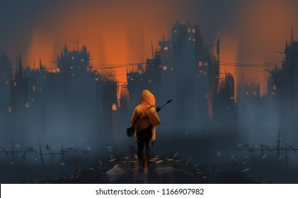 a warrior standing on many ruins against war and building burning, digital illustration art painting design style.