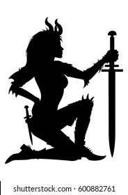 Warrior woman silhouette.Stylized woman warrior with a sword, in a fantasy spiked armor.