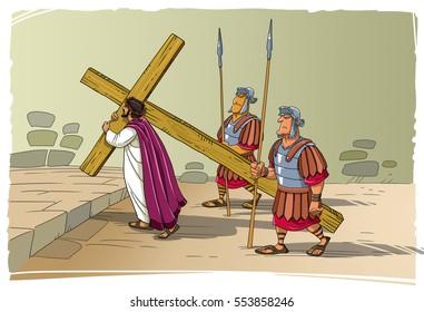 Warriors lead Jesus Christ to death on Mount Calvary. Jesus carries His cross.