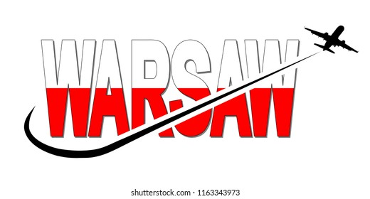 Warsaw flag text with plane silhouette and swoosh illustration