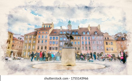 Warsaw, Poland. Bronze statue of Mermaid on the Old Town Market Square surrounded by colorful old houses. Watercolor style illustration