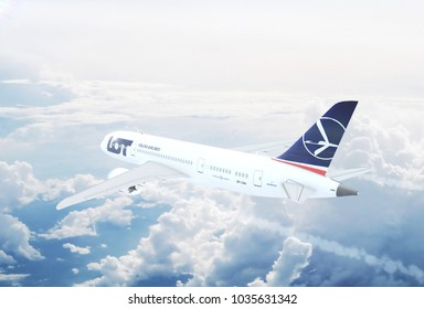 WARSAW, POLAND - FEB 28th: Aerial view of New Boeing 787 Dreamliner of the LOT Polish Airlines  3D Illustration.