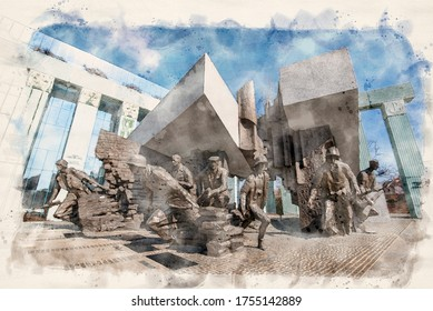 Warsaw, Poland - June 30, 2019: Monument to the Warsaw Rising dedicated to Warsaw Uprising in 1944 against the Nazi occupiers. Watercolor style illustration