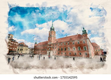 Warsaw, Poland. Main square in Warsaw Old Town front of the Royal castle. Watercolor style illustration