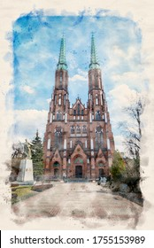 WARSAW, POLAND. Twin Towered Cathedral of Saint Michael the Archangel and Saint Florian the Martyr in the Praga District. Watercolor style illustration