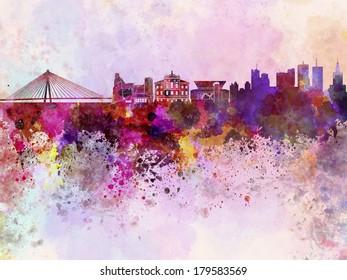 Warsaw skyline in watercolor background