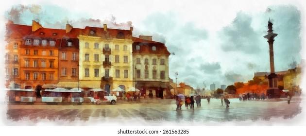 Warsaw watercolor illustration. Poland.