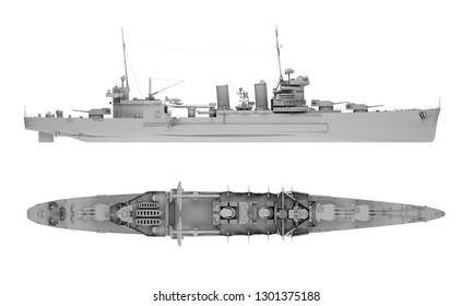 warship in gray side view and top view isolated on white. 3d rendering