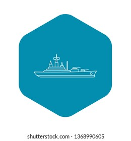 Warship icon. Outline illustration of warship icon for web