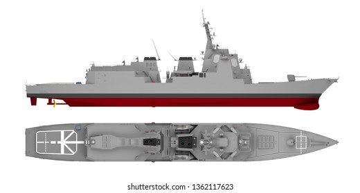 warship side view and top view isolated on white. 3d rendering