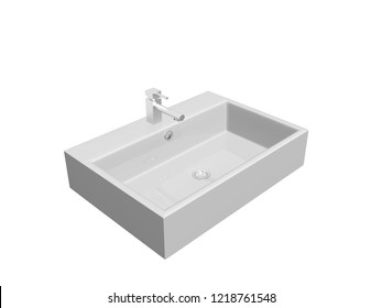 Wash basin. 3d render.