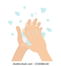 Wash hands with soap soap foam bubble. Cute cartoon character hand body part. Stop coronavirus COVID 19. Personal hygiene, disease preventio. Flat design. Isolated White background
