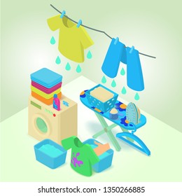 Washable concept banner. Isometric banner of washable concept for web, giftcard and postcard