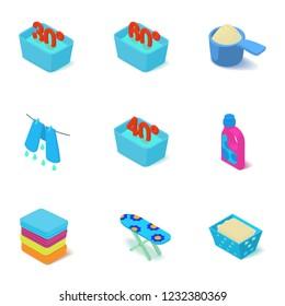 Washable icons set. Isometric set of 9 washable icons for web isolated on white background