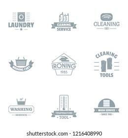 Washable logo set. Simple set of 9 washable logo for web isolated on white background