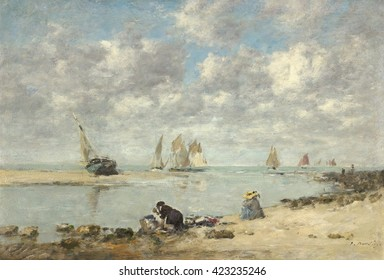 Washerwoman near Trouville, by Eugene Boudin, 1872-76, French impressionist painting, oil on canvas. A laundress works alongside a weekend vacationer to the nearby seaside resort. Boudin was a marine