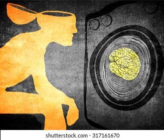 washing brain illustration concept